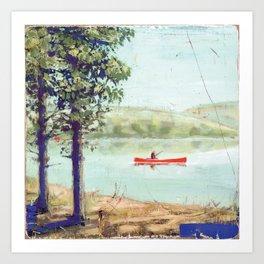 fishing in canoe Kunstdrucke