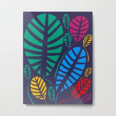 Jungle Night Pattern Floral Decoration Metal Print
