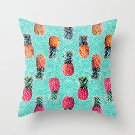 From Pineapple to Pink - tropical doodle pattern on mint Throw Pillow