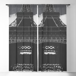 Eiffel Tower Paris France in Black and White Blackout Curtain