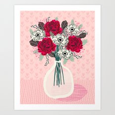 Peony Vase of flowers mother's day art print greeting card Andrea Lauren illustration Art Print