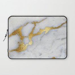 White and Gray Marble and Gold Metal foil Glitter Effect Laptop Sleeve