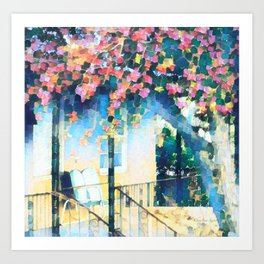 Old Porch of Pink and Teal by CheyAnne Sexton Art Print