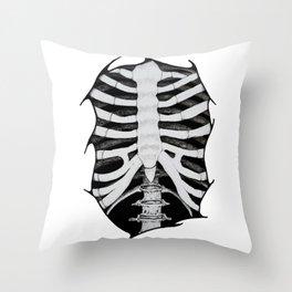 Skeleton Ribs Throw Pillow