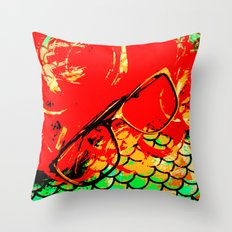 Hipster Mermaid  Throw Pillow