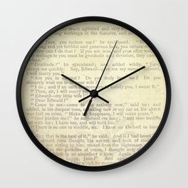 Jane Eyre, Mr. Rochester Proposal by Charlotte Bronte Wall Clock