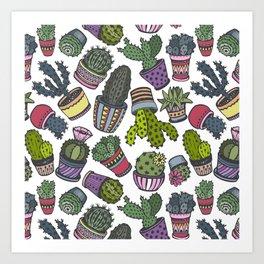 hand drawn cactus sketch style  Art Print