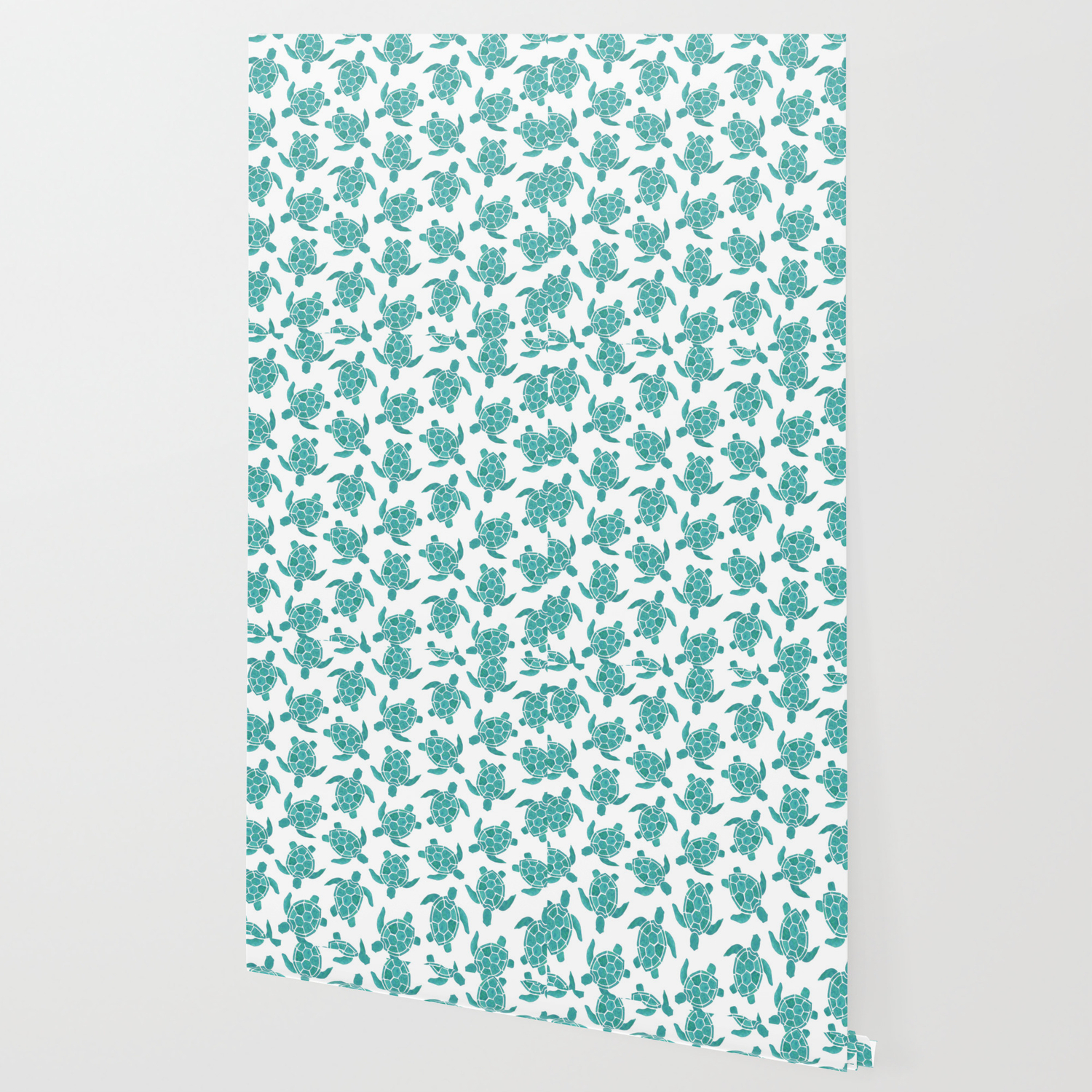 save the turtles in teal wallpaper