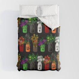 Halloween Mason Jar Bouquets Duvet Cover