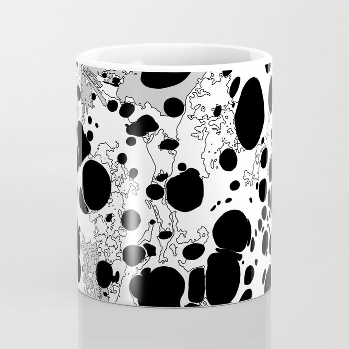 Black White Gray Monochrome Bubble Dots Spilled Ink Mess Effect Coffee Mug