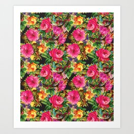 Botanical Bright Floral Repeat in Black Art Print