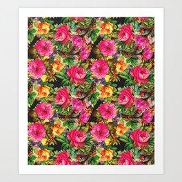 Botanical Bright Floral Repeat in Black Art Print