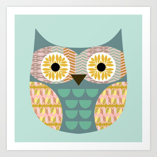 Geometric owl on aqua background Art Print