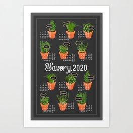 2020 Calendar potted culinary herbs Art Print
