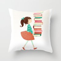 library Throw Pillows featuring Library Girl by Stephanie Fizer Coleman