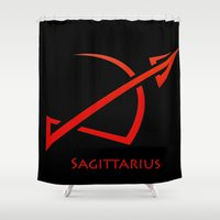 sagittarius Shower Curtains featuring Sagittarius by Groovyal