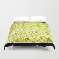 yellow pattern Duvet Covers featuring Yellow Flox Pattern by Tru Images Photo Art