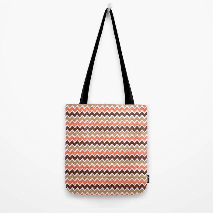 Coral Orange and Brown and Tan Chevron Tote Bag
