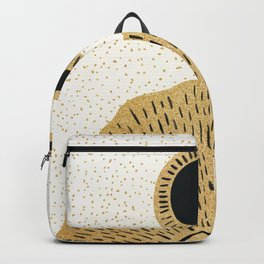Sun and Moon Relationship // Cosmic Rays of Black with Gold Speckle Stars Cool Minimal Digital Drawn Backpack