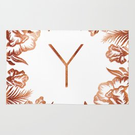 Letter Y - Faux Rose Gold Glitter Flowers Rug
