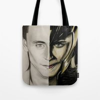 tom hiddleston Tote Bags featuring Tom Hiddleston by Goolpia