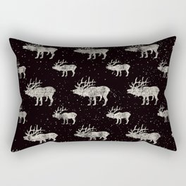 Moose in Winter Snow on Black -Wild Animals-Mix and Match with Simplicity of Life Rectangular Pillow