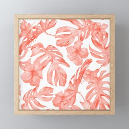 Tropical Hibiscus and Palm Leaves Dark Coral White Framed Mini Art Print