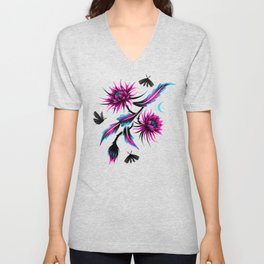 Queen of the Night - Teal / Purple Unisex V-Neck