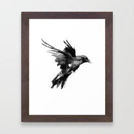 Flying Raven. tribal raven lover black and white raven decor Framed Art Print
