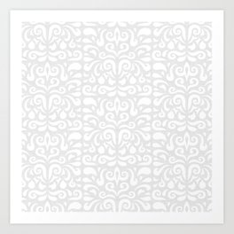 cadence damask - light gray Art Print
