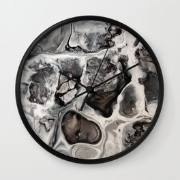 """Black, Silver and White Fluid Painting - """"Obsidian"""" Rock Wall Clock"""