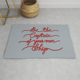 Be the Captain of your own Ship (Gray and Red) Rug