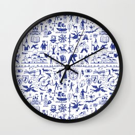 Wizard and Witch Pattern   Magic Sorcery Conjuring Wall Clock