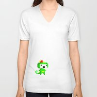 fez V-neck T-shirts featuring Rawr played Fez by Leilei Pan