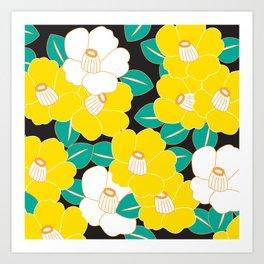 Shades of Tsubaki - Yellow & Black Art Print