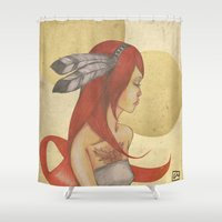 redhead Shower Curtains featuring Redhead Indian by Oscar Civit