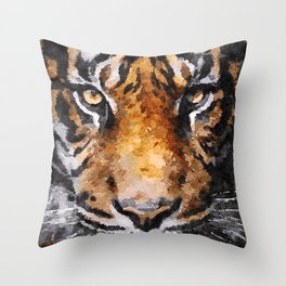 Tiger Head Watercolor Throw Pillow