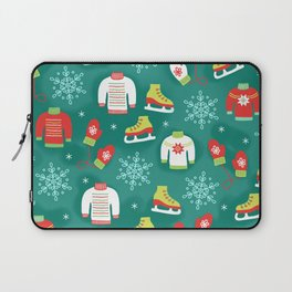 Christmas Sweaters, Ice Skates and Mittens Pattern Laptop Sleeve