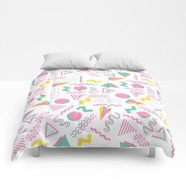 Abstract retro pink teal yellow geometrical 80's pattern Comforters