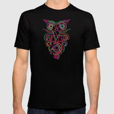 owl pink SMALL Black Mens Fitted Tee
