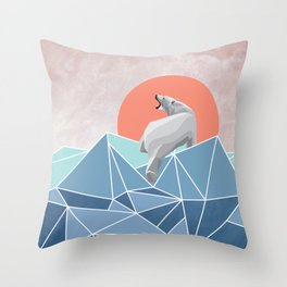 Polar Bear live in North Pole Throw Pillow