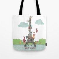 eiffel tower Tote Bags featuring Eiffel Tower by ShangheeShin