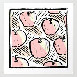 Pattern of Apples - Linoprint Art Print