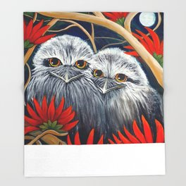 Tawny Frogmouth Owls in a Red Coral Tree, original painting by Sheridon Rayment Throw Blanket