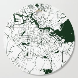 Amsterdam White on Green Street Map Cutting Board
