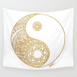 Golden Yin Yang Wall Tapestry