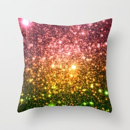 Pink Gold Green Galaxy Sparkle Throw Pillow