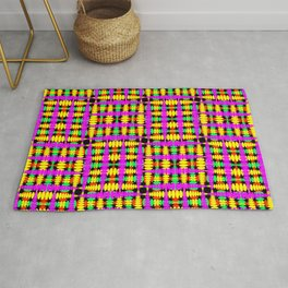 Strict poplite of intersecting blue squares and green curly rhombuses. Rug