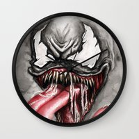 venom Wall Clocks featuring venom by rchaem