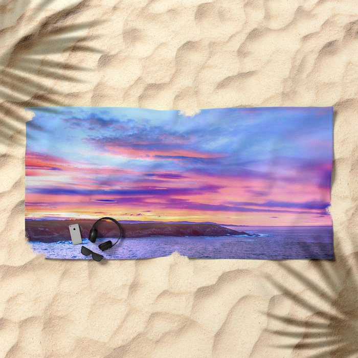 Biscay Bay sunset Beach Towel